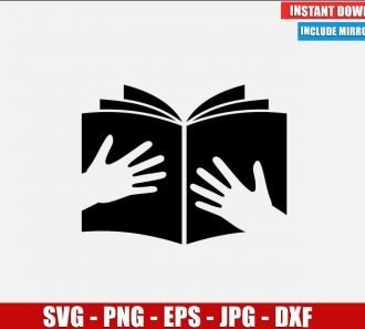 Hands with Book SVG Free Cut File for Cricut Silhouette Freebie School Clipart Vector PNG Image Download Free