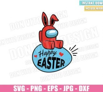 Bunny Impostor Easter Egg (SVG dxf png) Among us Game Crewmate Ears Cut File Cricut Silhouette Vector Clipart - Don Vito Design Store