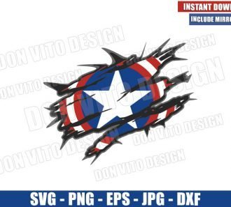Captain America Shield Ripping Shirt (SVG dxf png) Marvel Distressed Cut File Cricut Silhouette Vector Clipart - Don Vito Design Store