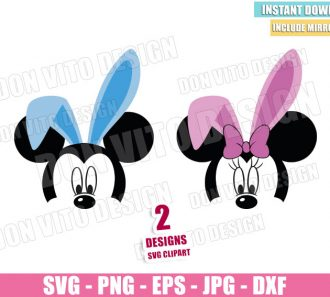 Mickey Minnie Face Bunny Ears (SVG dxf png) Disney Easter Mouse Head Bow Cut File Cricut Silhouette Vector Clipart - Don Vito Design Store