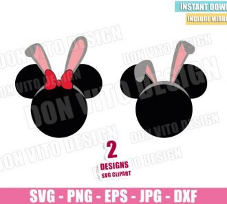 Disney Bunny Ears (SVG dxf png) Mickey Minnie Mouse Easter Head Bow Cut File Cricut Silhouette Vector Clipart - Don Vito Design Store
