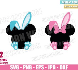 Disney Bunny Feet and Ears (SVG dxf png) Mickey Minnie Mouse Head Bow Cut File Cricut Silhouette Vector Clipart - Don Vito Design Store