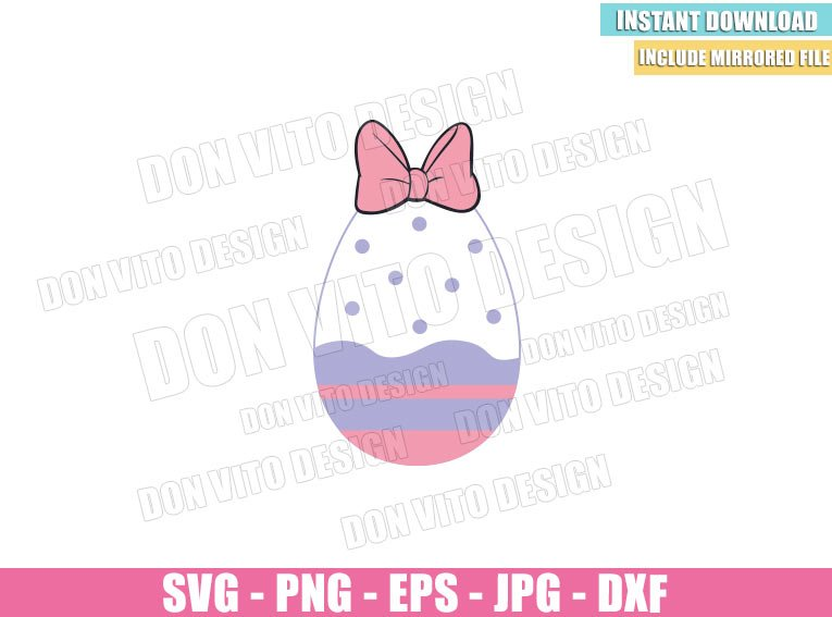 Daisy Duck Easter Egg (SVG dxf png) Disney Easter Daisy Bow Pink Cut File Cricut Silhouette Vector Clipart - Don Vito Design Store