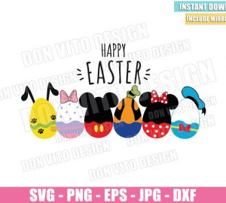 Happy Easter Mickey Club Eggs (SVG dxf png) Disney Donald Goofy Pluto Daisy Cut File Cricut Silhouette Vector Clipart - Don Vito Design Store