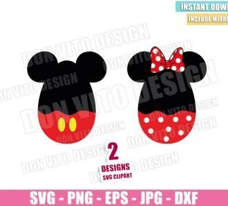 Mickey and Minnie Easter Egg (SVG dxf png) Disney Easter Pants Bow Cut File Cricut Silhouette Vector Clipart - Don Vito Design Store