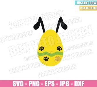 Pluto Easter Egg (SVG dxf png) Disney Easter Pluto Dog Paw Tag Pet Cut File Cricut Silhouette Vector Clipart - Don Vito Design Store