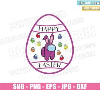 Easter Egg with Among Us (SVG dxf png) Game Impostor Crewmate Bunny Ears Cut File Cricut Silhouette Vector Clipart - Don Vito Design Store