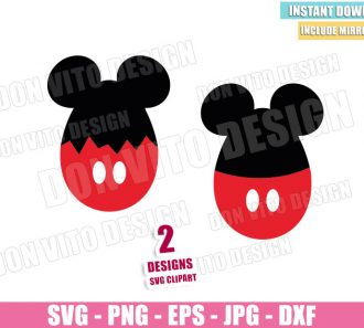 Egg Mickey Mouse Ears (SVG dxf png) Disney Easter Egg Cracked Cut File Cricut Silhouette Vector Clipart