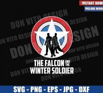 Falcon and Winter Soldier Silhouettes (SVG dxf png) Captain America Shield Cut File Cricut Silhouette Vector Clipart - Don Vito Design Store