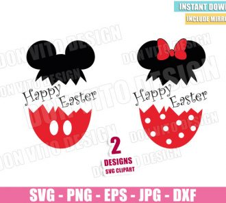 Happy Easter Disney Eggs (SVG dxf png) Mickey Minnie Mouse Egg Cracked Cut File Cricut Silhouette Vector Clipart - Don Vito Design Store