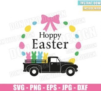 Hoppy Easter Vintage Truck (SVG dxf png) Old Car with Bunnies Eggs Cut File Cricut Silhouette Vector Clipart - Don Vito Design Store