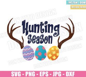 Easter Hunting Season (SVG dxf png) Boy Egg Hunt Easter Eggs Horn Cut File Cricut Silhouette Vector Clipart - Don Vito Design Store