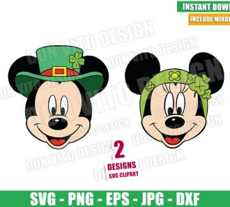 Irish Minnie Mickey Mouse Head (SVG dxf png) Disney Lucky St Patty Cut File Cricut Silhouette Vector Clipart - Don Vito Design Store