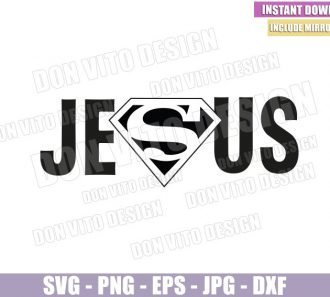 Jesus Superman Logo (SVG dxf png) Super Hero Christian Catholic Comic Cut File Cricut Silhouette Vector Clipart - Don Vito Design Store