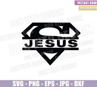 Jesus Superman Monogram (SVG dxf png) Superhero Christian Catholic Logo Cut File Cricut Silhouette Vector Clipart - Don Vito Design Store