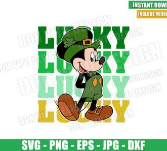 Lucky Mickey Mouse (SVG dxf png) Disney Irish Green Leprechaun Cut File Cricut Silhouette Vector Clipart - Don Vito Design Store