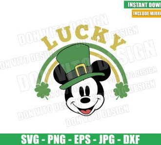 Lucky Mickey Rainbow Clover (SVG dxf png) Disney Mouse Head Irish Hat Cut File Cricut Silhouette Vector Clipart - Don Vito Design Store