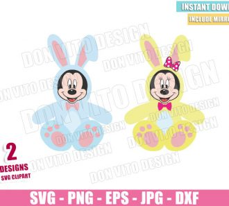 Mickey Minnie Easter Rabbit (SVG dxf png) Disney Mouse Bunnies Feet and Ears Cut File Cricut Silhouette Vector Clipart - Don Vito Design Store