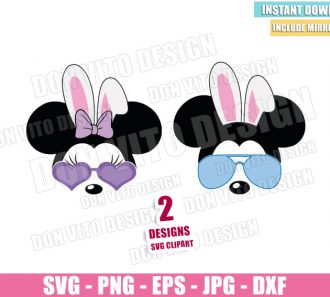 Mickey Minnie Bunny Sunglasses (SVG dxf png) Disney Mouse Bunnies Ears Bow Cut File Cricut Silhouette Vector Clipart - Don Vito Design Store