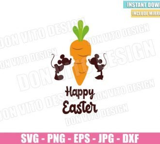 Mickey Minnie Mouse Carrot (SVG dxf png) Disney Happy Easter Quote Cut File Cricut Silhouette Vector Clipart - Don Vito Design Store