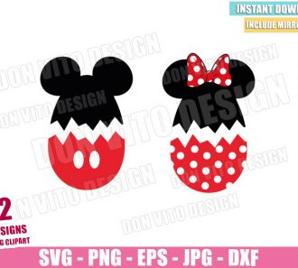 Mickey Minnie Cracked Eggs (SVG dxf png) Disney Easter Mouse Ears Bow Cut File Cricut Silhouette Vector Clipart - Don Vito Design Store