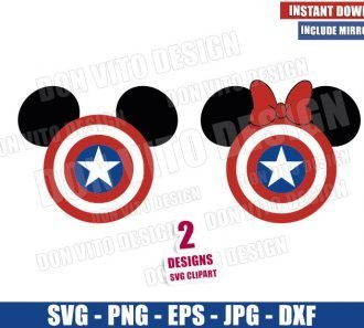 Captain America Shield Mickey Ears (SVG dxf png) Disney Minnie Mouse Logo Cut File Cricut Silhouette Vector Clipart - Don Vito Design Store
