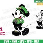 Irish Mickey Mouse Shamrock (SVG dxf png) Disney Hat Bow Tie Outline Cut File Cricut Silhouette Vector Clipart Design St Patrick Day svg