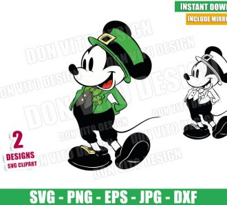 Mickey Mouse Shamrock (SVG dxf png) Disney Irish Hat Bow Tie Outline Cut File Cricut Silhouette Vector Clipart - Don Vito Design Store