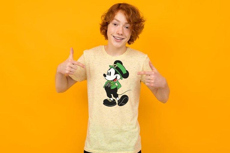 T-Shirt Design - Irish Mickey Mouse Shamrock (SVG dxf png) Disney Hat Bow Tie Outline Cut File Cricut
