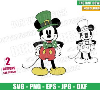 Mickey Mouse St Patty (SVG dxf png) Disney Irish Hat Bow Tie Outline Cut File Cricut Silhouette Vector Clipart - Don Vito Design Store