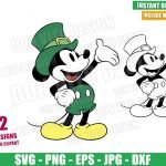 Mickey Mouse with Leprechaun Hat (SVG dxf png) Disney Irish Outline Cut File Cricut Silhouette Vector Clipart 2 Designs St Patrick Day svg