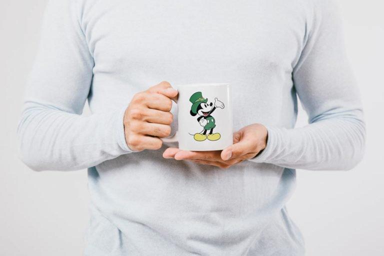 Mug Design - Mickey Mouse with Leprechaun Hat (SVG dxf png) Disney Irish Outline Cut File Cricut Silhouette Vector Clipart