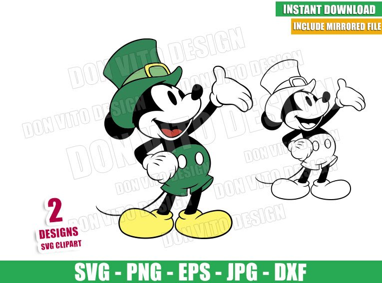 Mickey Mouse with Leprechaun Hat (SVG dxf png) Disney Irish Outline Cut File Cricut Silhouette Vector Clipart - Don Vito Design Store