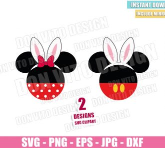 Mickey and Minnie Easter Ears (SVG dxf png) Bunny Disney Head Mouse Bow Cut File Cricut Silhouette Vector Clipart - Don Vito Design Store