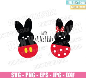 Mickey Minnie Peep Bunny (SVG dxf png) Disney Mouse Bunnies Ears Bow Cut File Cricut Silhouette Vector Clipart - Don Vito Design Store