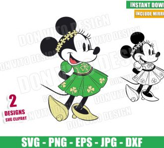 Minnie Mouse Shamrock Dress (SVG dxf png) Disney Irish Bow Outline Cut File Cricut Silhouette Vector Clipart - Don Vito Design Store