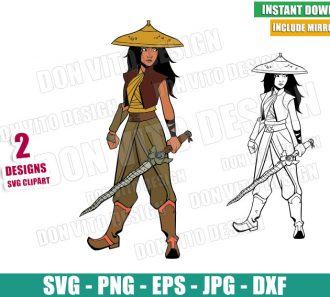 Raya Warrior with Sword (SVG dxf png) Raya and the Last Dragon Outline Cut File Cricut Silhouette Vector Clipart - Don Vito Design Store