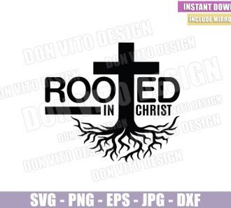 Rooted in Christ (SVG dxf png) Cross Tree Christian Catholic Jesus Cut File Cricut Silhouette Vector Clipart - Don Vito Design Store