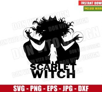 Marvel Scarlet Witch Silhouette (SVG dxf png) Wanda Maximoff Superhero Art Cut File Cricut Vector Clipart