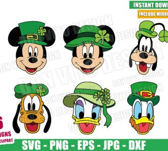 St Patrick Disney Friends Bundle (SVG dxf png) Irish Mickey Donald Pluto Daisy Cut File Cricut Silhouette Vector Clipart - Don Vito Design Store