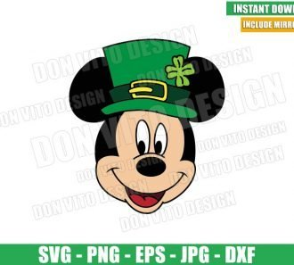 St Patrick Mickey Mouse Hat (SVG dxf png) Disney Green Irish Clover Cut File Cricut Silhouette Vector Clipart - Don Vito Design Store