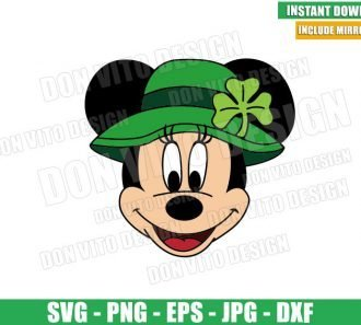 St Patrick Minnie Mouse Hat (SVG dxf png) Disney Green Irish Shamrock Cut File Cricut Silhouette Vector Clipart - Don Vito Design Store