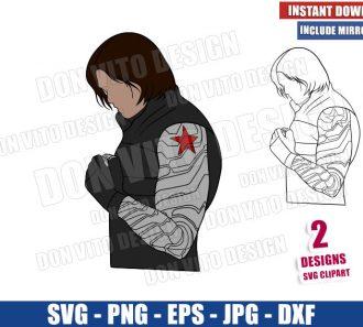 Winter Soldier Outline (SVG dxf png) The Falcon and Bucky Barnes Cut File Cricut Silhouette Vector Clipart - Don Vito Design Store