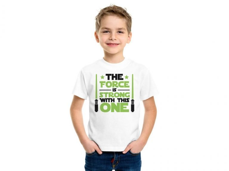 T-Shirt Design Example The Force Strong Lightsaber Green (SVG dxf png) Jedi Disney Movie Cricut Silhouette Vector Clipart