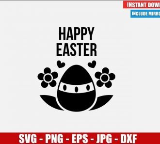 Egg Flowers Happy Easter SVG Free Cut File for Cricut Silhouette Freebie Heart Clipart Vector PNG Image Download Free