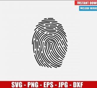 Fingerprint SVG Free Cut File for Cricut Silhouette Freebie Finger Print Biometric Clipart Vector PNG Image Download Free