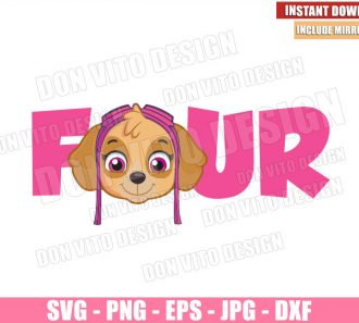 Four Skye (SVG dxf png) Paw Patrol Birthday Party 4 Skye Head Cut File Cricut Silhouette Vector Clipart - Don Vito Design Store