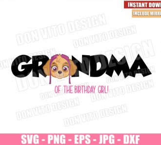Skye Grandma Birthday Girl (SVG dxf png) Paw Patrol Head Logo Cut File Cricut Silhouette Vector Clipart - Don Vito Design Store