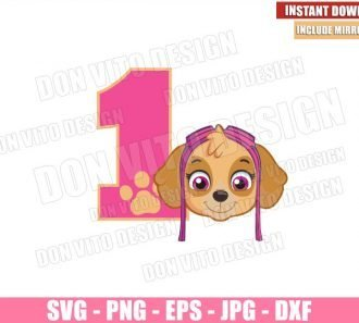 Number 1 Skye (SVG dxf png) Paw Patrol Birthday Party One Head Cut File Cricut Silhouette Vector Clipart - Don Vito Design Store