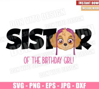Skye Sister of Birthday Girl (SVG dxf png) Paw Patrol Head Logo Cut File Cricut Silhouette Vector Clipart - Don Vito Design Store